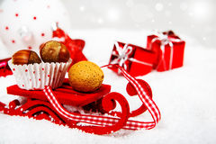 Christmas sleigh carrying nuts Stock Images