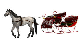 Christmas Sleigh. 3D digital render of a white horse and a red vintage Christmas sleigh isolated on white background Stock Images