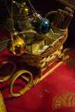 Christmas sleigh decoration. Christmas time table and centrepiece decoration Royalty Free Stock Photo