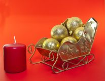 Christmas sleigh decorations Stock Photos