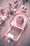 Christmas sleigh and decorations Royalty Free Stock Image