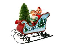Christmas Sleigh With Elves and Tree Stock Photos