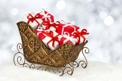 Christmas sleigh filled gifts Royalty Free Stock Images