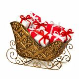 Christmas sleigh filled gifts Stock Photos
