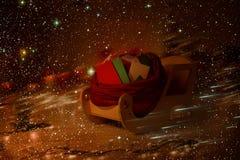 Christmas Sleigh Full Children Letters, Kids Mails Sledge Delivery. Christmas Sleigh Full of Children Letters, Kids Mails Sledge Delivery in Magic Snow Night Stock Photo