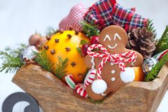 Christmas sleigh with gingerbread man Stock Photography