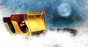 Christmas Sleigh. A golden old sleigh with red seats and Santa Claus's hat on a cloud looking down on a city.  Concept for Christmas eve and Santa getting ready Stock Image