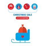 Christmas sleigh with presents and gift box icons Stock Photography