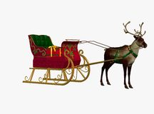 Christmas sleigh and reindeer Royalty Free Stock Photo