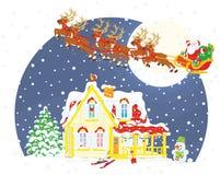 Christmas Sleigh of Santa Claus Stock Photo