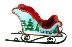Christmas Sleigh with trees Royalty Free Stock Photos