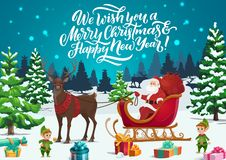 Free Christmas Sleigh With Santa, Elves And Xmas Gifts Royalty Free Stock Photography - 164327367
