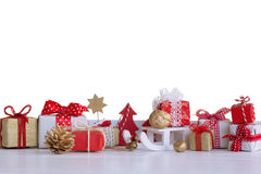 Christmas small gift boxes and Christmas decorations Royalty Free Stock Photos