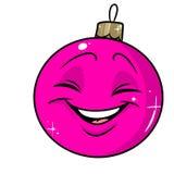 Christmas smile pink ball cartoon Royalty Free Stock Image