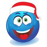 Christmas smile. Stock photo - Blue smiley red cap Stock Images