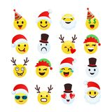 Christmas smiley cheerful and funny collection. Includes such emoticons as Santa Claus, snowman, elf, reindeer characters stock illustration