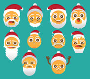 Christmas Smiley face icons isolated on white background Stock Photo