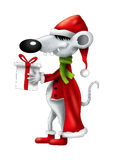 Christmas smiling cartoon mouse with gift isolated Stock Image
