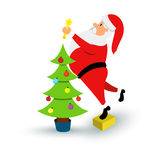Christmas smiling Santa Claus character. Cartoon bearded man in festive costume with coffee cup. Vector xmas Royalty Free Stock Image