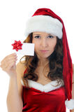 Christmas Smiling Woman. In red santa cap. isolated on a white background Royalty Free Stock Photo