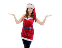 Christmas Smiling Woman. In red santa cap. isolated on a white background Royalty Free Stock Images
