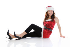 Christmas Smiling Woman. In red santa cap.  on a white background Stock Photo