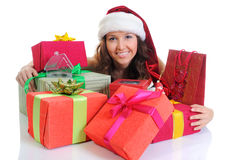 Christmas Smiling Woman. In red santa cap.  on a white background Stock Photography