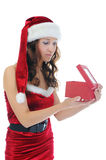 Christmas Smiling Woman. In red santa cap. isolated on a white background Stock Photo