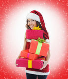 Christmas Smiling Woman. In red santa cap Royalty Free Stock Images