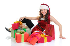 Christmas Smiling Woman. In red santa cap. isolated on a white background Stock Image