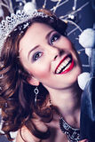 Christmas smiling woman as Snow Queen character Royalty Free Stock Photography