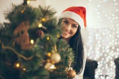Christmas-Smiling woman. Beautiful Happy woman Royalty Free Stock Photo
