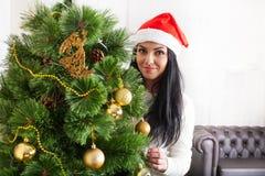 Christmas-Smiling woman. Beautiful Happy woman Royalty Free Stock Photos