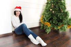 Christmas-Smiling woman. Beautiful Happy woman Royalty Free Stock Image