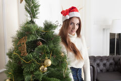 Christmas-Smiling woman. Beautiful Happy woman Stock Images