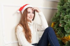 Christmas-Smiling woman. Beautiful Happy woman Royalty Free Stock Photography