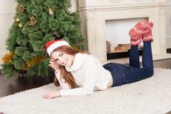 Christmas-Smiling woman. Beautiful Happy woman Stock Photos