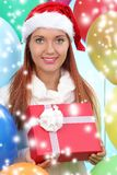 Smiling woman in santa helper hat with gift boxes. Christmas.smiling woman in santa helper hat with gift boxes stock photo
