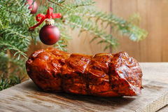 Christmas smoked ham Royalty Free Stock Images