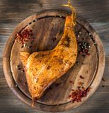 Meat delicacy. Christmas smoked turkey, meat delicacy royalty free stock image