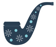 Christmas Smoking pipe. Flat style design. Stock Photo