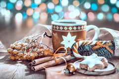 Christmas snack on decorated table, toned image Royalty Free Stock Photography