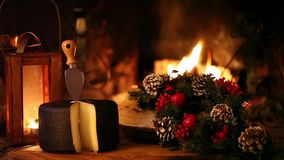 Christmas Snack In Front Of The Fireplace stock video footage