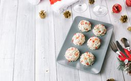 Christmas snacks cheese balls with pomegranate royalty free stock images