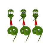 Christmas snake. Three various christmas snake character Royalty Free Illustration