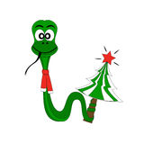 Christmas snake with fir tree Royalty Free Stock Images