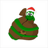 Christmas snake with gift bag. Vector character Stock Photo