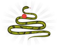 Christmas snake with label Stock Photo