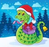 Christmas snake theme image Stock Image