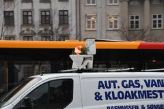 Christmas snata and danish humour travel. Copenhagen/Denmark. 18..December 2018. .Chritams santa in danish chistmas humour travel alomg with worker in Copenhagen royalty free stock photos